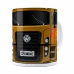 Caneca Personalizada Truck Mostarda V01 Com Nome Branca