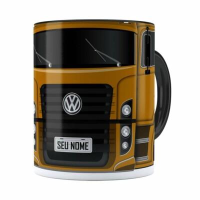 Caneca Personalizada Truck Mostarda V02 Com Nome Preta