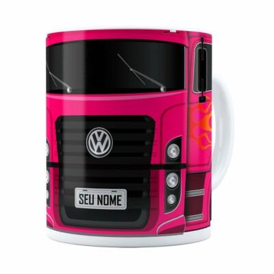 Caneca Personalizada Truck Pink V01 Com Nome Branca