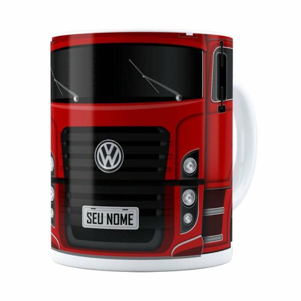 Caneca Personalizada Truck Vermelho V02 Com Nome Branca