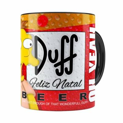Caneca Simpsons Barney Gumble Duff Beer Natal Preta