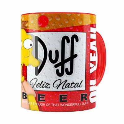 Caneca Simpsons Barney Gumble Duff Beer Natal Vermelha