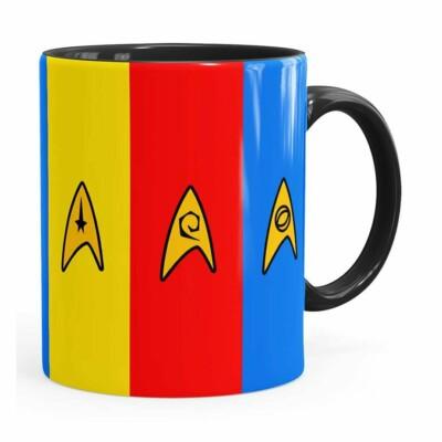 Caneca Star Trek Uniformes Divisoes  Preta