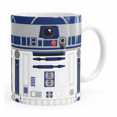 Caneca Star Wars R2-d2 Minimalista Branca