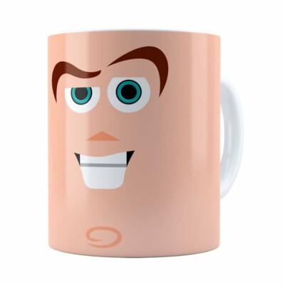 Caneca Toy Story Buzz Lightyear Minimalista V02 Branca