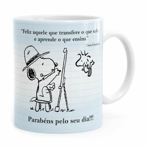 Caneca Dia Dos Professores Snoopy Branca