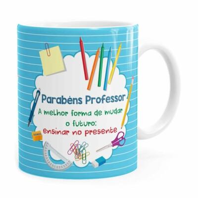 Caneca Parabéns Professor Melhor Forma Branca