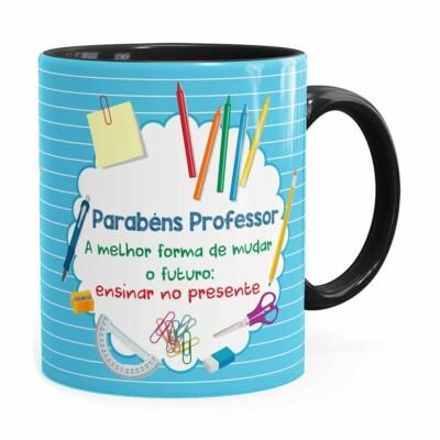 Caneca Parabéns Professor Melhor Forma Preta