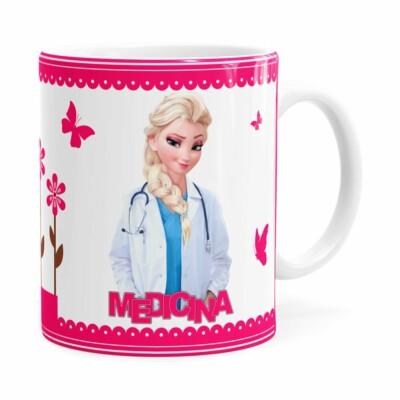 Caneca Profissões Medicina Frozen Elsa Branca
