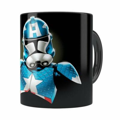 Caneca Star Wars Stormtrooper Capitão América Preta