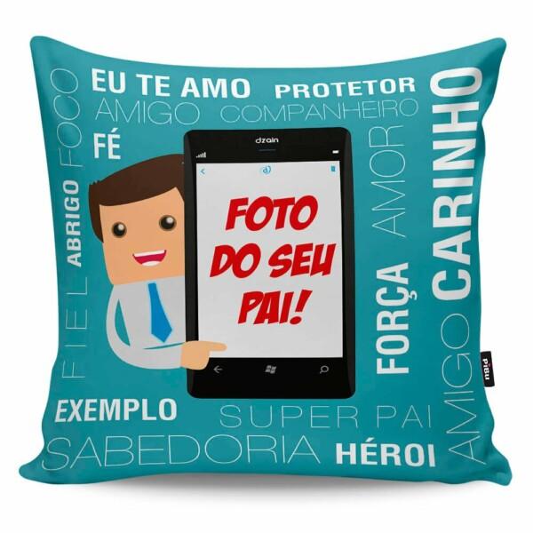 Almofada Personalizada Com Foto Pai No Celular