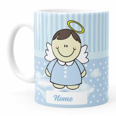 Caneca Personalizada Dindo Anjinho Azul Branca