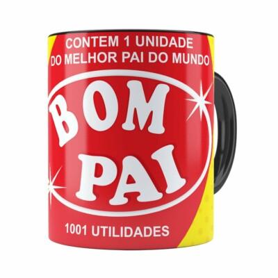 Caneca Pai Bombril 1001 Utilidades Preta