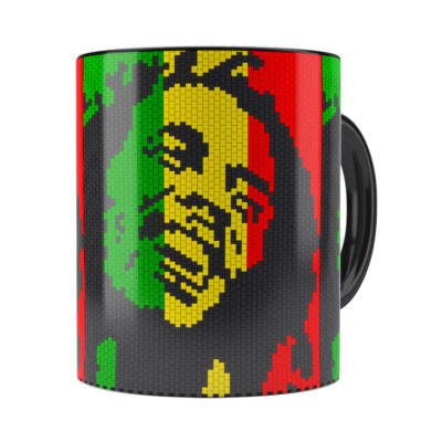Caneca Bob Marley Mosaíco Preta