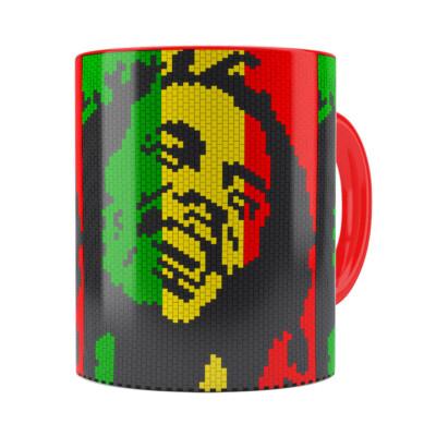 Caneca Bob Marley Mosaíco Vermelha