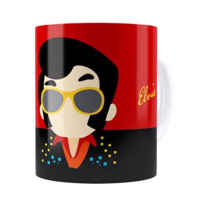 Caneca Elvis Presley Minimalista Branca