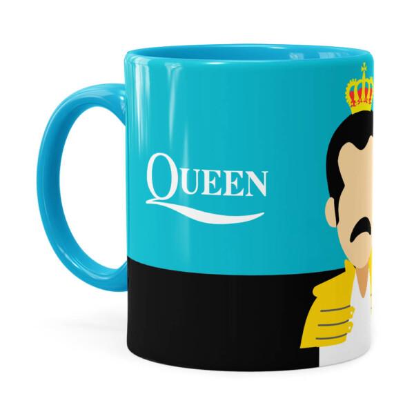 Caneca Queen Freddie Mercury Minimalista Azul Claro
