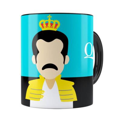 Caneca Queen Freddie Mercury Minimalista Preta