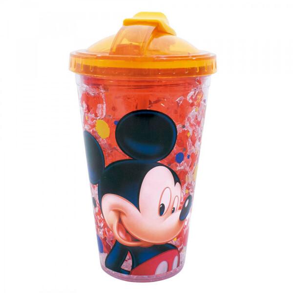 Copo Mickey Com Tampa E Canudo Com Gel Congelante 450ml