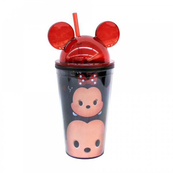 Copo Preto Mickey & Minnie Com Canudo E Orelhas Tsum Tsum 450ml