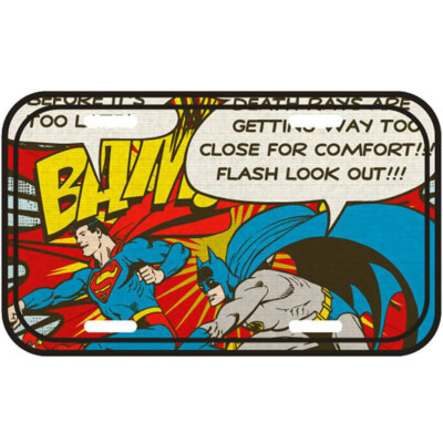 Placa Decorativa Batman E Superman Bam 30x15