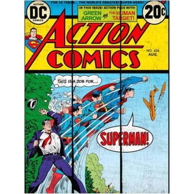 Placa Superman Transformação Madeira 50x36cm