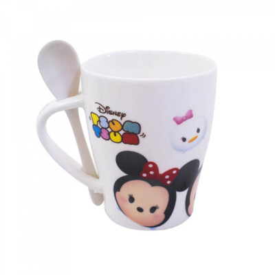 Caneca De Porcelana Mickey Com Colher E Minnie Tsum Tsum 310ml