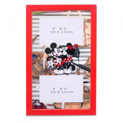 Porta Retrato Mickey e Minnie Espelho Moldura Vermelha Para 2 Fotos