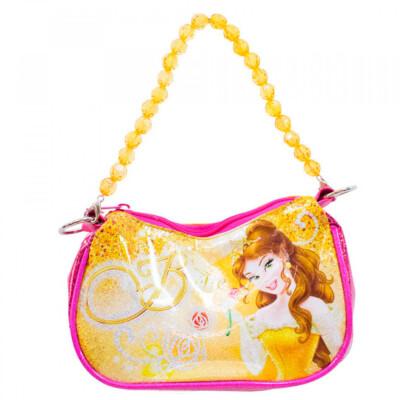Bolsa Amarela Princesa Bela Com Alça De Miçanga