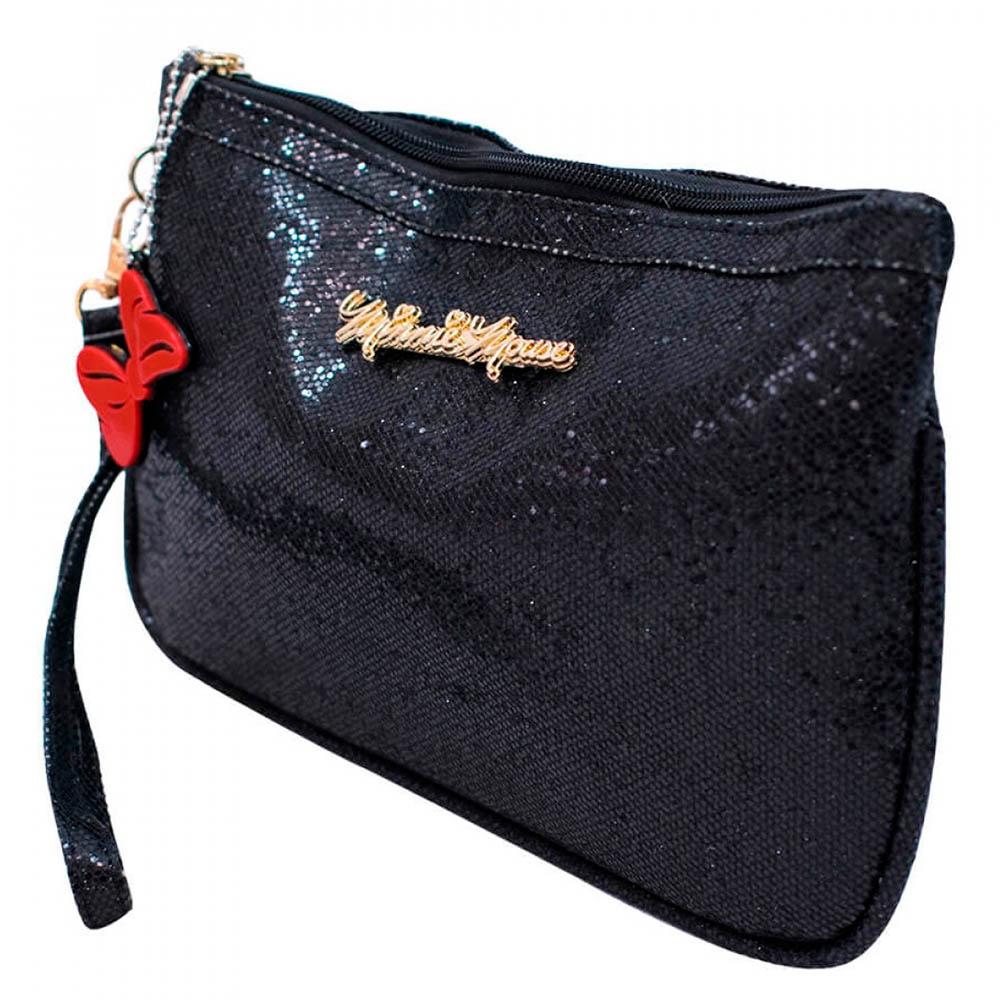 Bolsa Minnie Mão Preta Brilhante 14x21cm