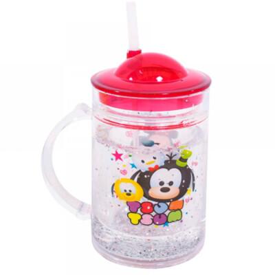 Caneca Mickey E Minnie Com Tampa E Canudo Tsum Tsum 200ml