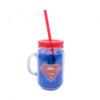 Caneca Super Homem De Plástico Com Canudo 420ml