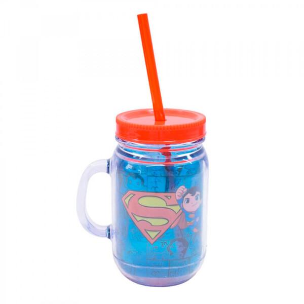Caneca Superman De Plástico Com Canudo 420ml