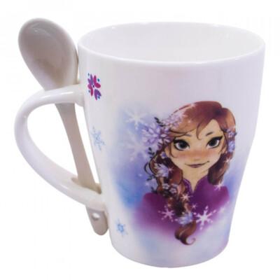 Caneca De Porcelana Com Colher Anna E Elsa Belas Frozen 310ml