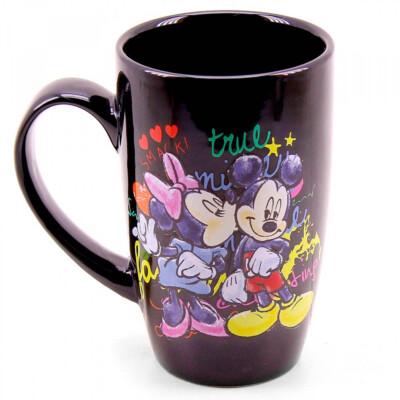 Caneca Mickey E Minnie Porcelana Preta 400ml