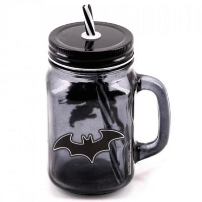 Caneca Batman Vidro Com Canudo