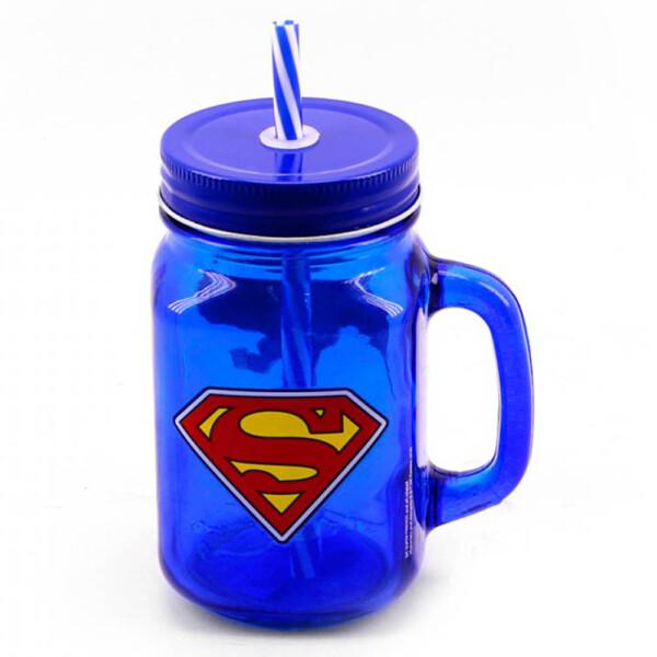 Caneca Super Homem De Vidro Com Canudo