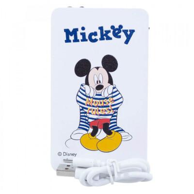 Carregador Portátil Mickey Branco Listras 2200mah