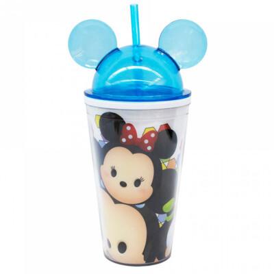Copo Azul Mickey E Minnie Tsum Tsum Com Canudo E Orelhas 450ml
