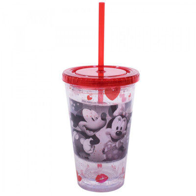 Copo Mickey E Minnie Com Canudo Foto 450ml