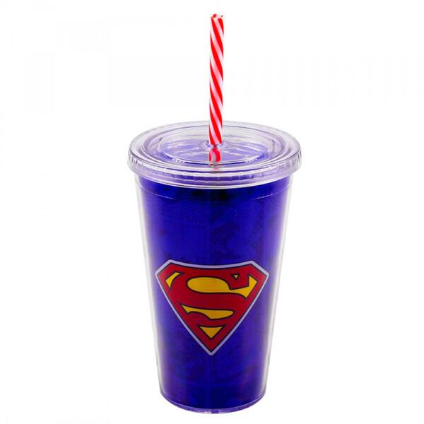 Copo Super Homem Com Canudo 450ml