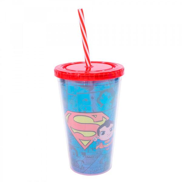 Copo Superman Com Canudo 450ml