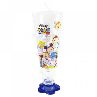 Copo Mickey E Minnie Cone Azul Com Canudo 250ml