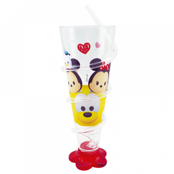 Copo Mickey E Minnie Cone Vermelho Com Canudo 250ml