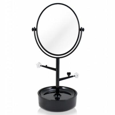 Espelho De Mesa Com Porta Joias Jacki Design Preto