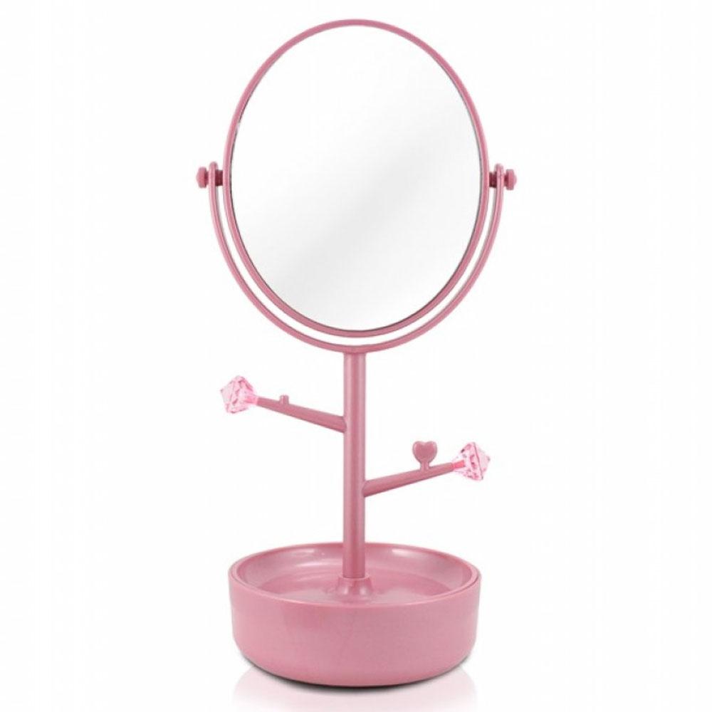 Espelho De Mesa Com Porta Joias Jacki Design Rosa