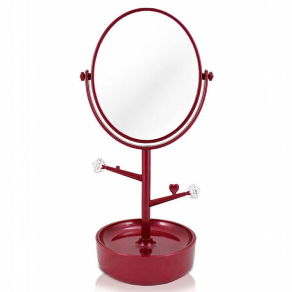 Espelho De Mesa Com Porta Joias Jacki Design Vermelho