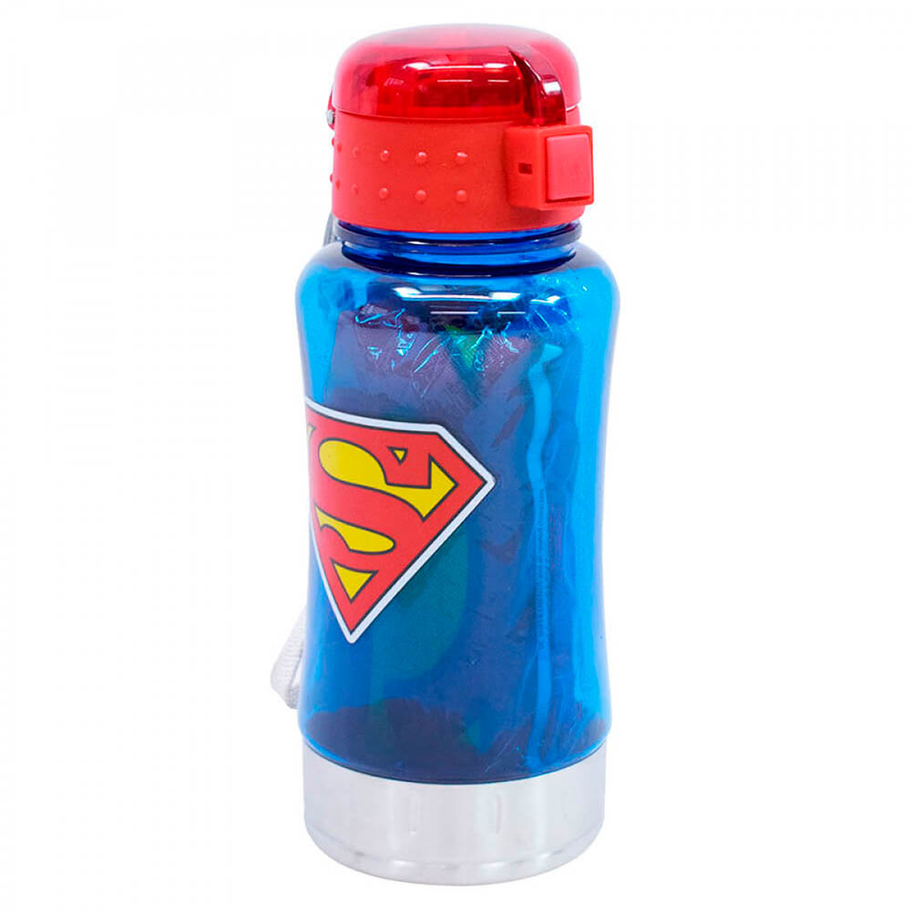 Garrafa 450ml Superman Com Mochila Tipo Saco