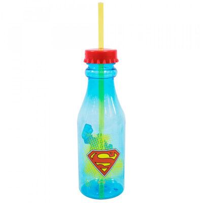 Garrafa Com Canudo Superman Tampa Rosqueável 500ml