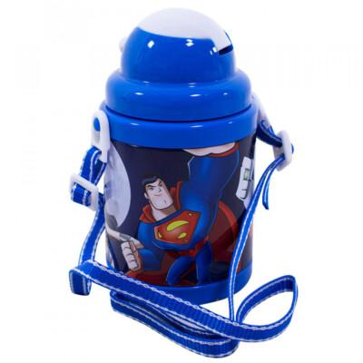 Garrafa Com Canudo Super Amigos E Cordão Azul 380ml